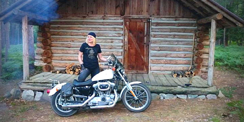 Tammy with Harley Log Cabin
